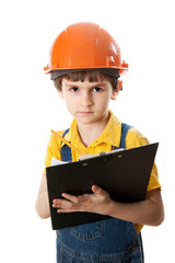 The little work superintendent with clipboard
