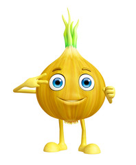 Onion character with win pose