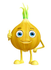 Onion character with thumbs up pose