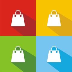 Iconos bolsa compra colores sombra