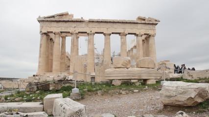 Parthenon on the Acropolis in Athens, Greece. Time lapse