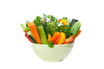 Straws of fresh vegetables in a bowl