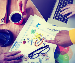 Office Teamwork Brainstorming Ideas Statistical Business Concept