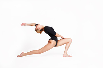 Young woman making stretching