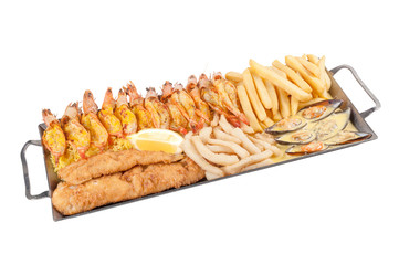 Seafood platter on white background