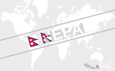 Nepal map flag and text illustration