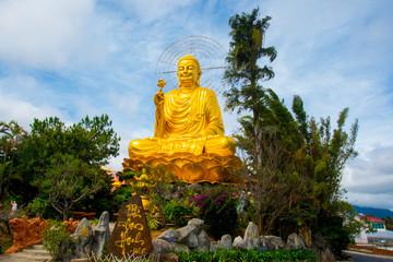 Asia, Vietnam.The city of Dalat, bronze Buddha.