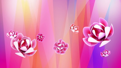 Abstract redtone background with oriental flower