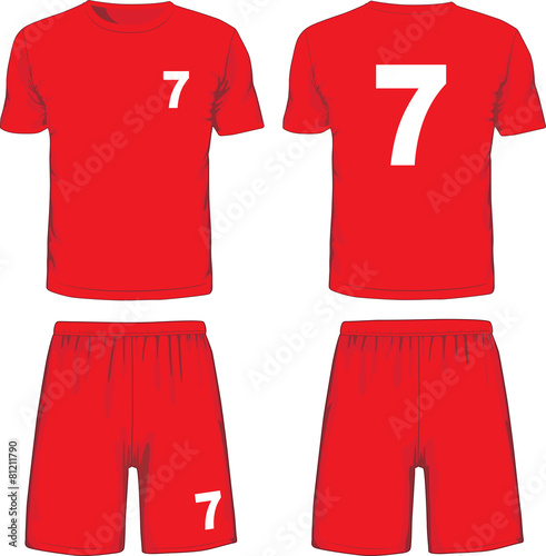 Set of soccer uniform front and back view. Vector - 81211790