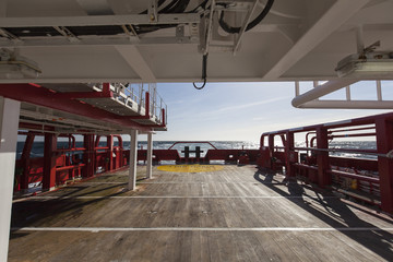 Cargo deck on the ship