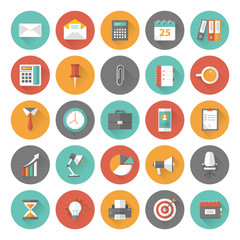 Set of flat office and business icons