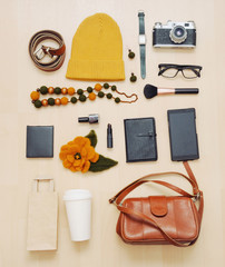 fashion set of accessories and stuff for the fall