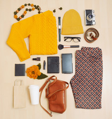 fashion set of clothing and accessories for the fall