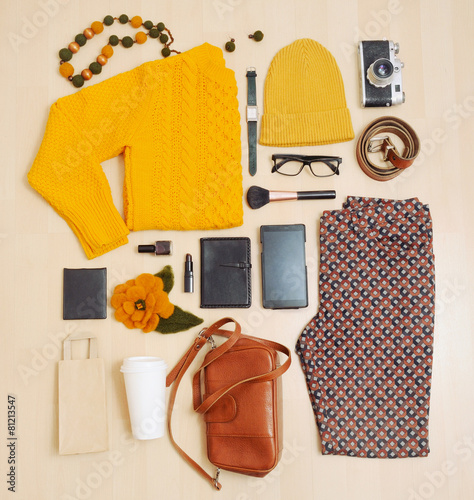 fashion set of clothing and accessories for the fall - 81213547
