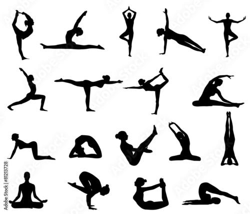 girl makes yoga exercise - 81213728