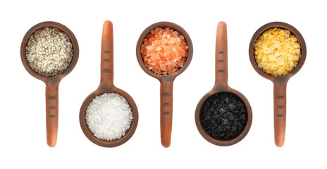 Assortment of salts in ceramic scoop