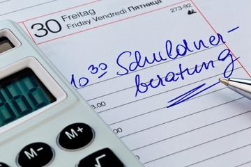 Kalendernotiz Schuldnerberatung