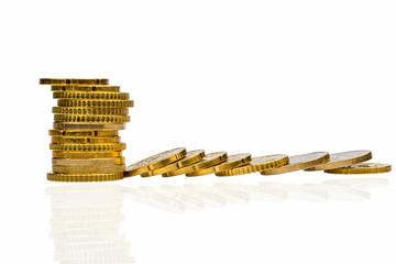 Münzen, Gestapelt und liegend