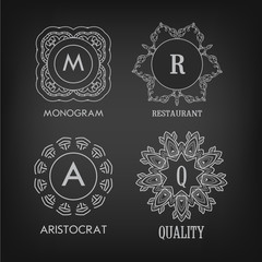 Set of luxury, simple and elegant monogram designs templates