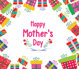 Happy Mother's Day. Celebration background with gift boxes
