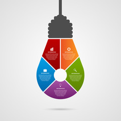 Abstract infographic with light bulb banner.