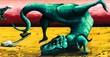 Tyrannosaurus rex is dancing - 81215996