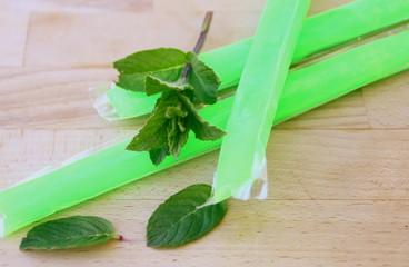 bâton sucette,glace à l'eau à la menthe