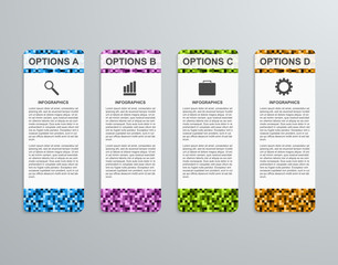 Abstract 3D business options paper infographics template.