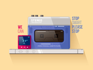 Cassette and mp3 players vs smart phone