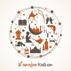 Holy month Ramadan Kareem celebration with Islamic elements.