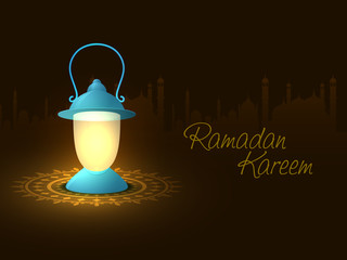 Ramadan Kareem celebration with illuminated Arabic lantern.