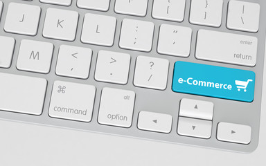 Blue E-Commerce Button on White Computer Keyboard