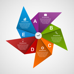 Infographics design template in the shape of air pinwheel.