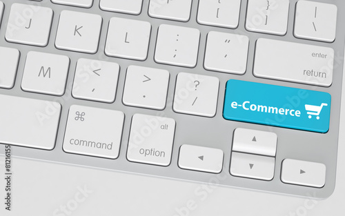 Blue E-Commerce Button on White Computer Keyboard - 81216155