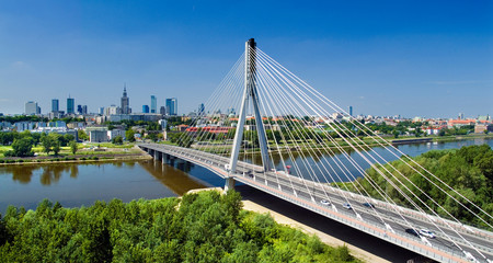 Bridge in Warsaw over Vistula river