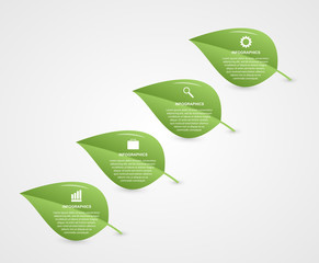 Abstract 3d leaf infographic. Nature concept.