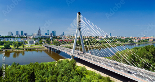 Bridge in Warsaw over Vistula river - 81216356