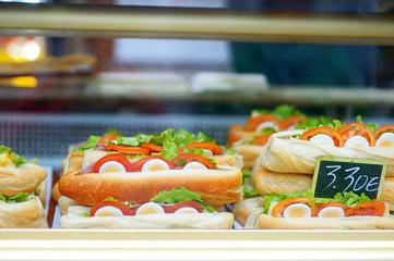 Take away street food display at Paris