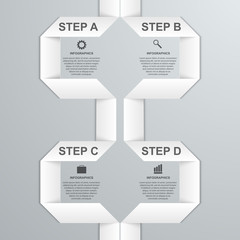 Modern infographic option banner with white paper ribbon.