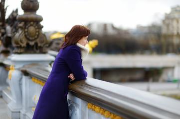 Beautiful young tourist in Paris