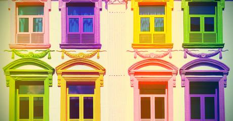 Retro filtered colorful windows.