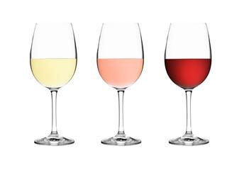 Weißwein-, Roéswein- und Rotweinglas