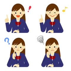 学生 女子 表情 / vector eps10