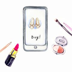Internet shopping . Fashion illustration