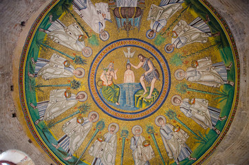 Ceiling mosaic of the Arian baptistery.