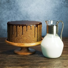 Delicious chocolate cake with jug of milk on wooden surface