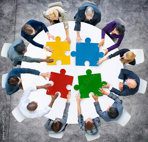 Business People Jigsaw Puzzle Collaboration Team Concept - 81218743