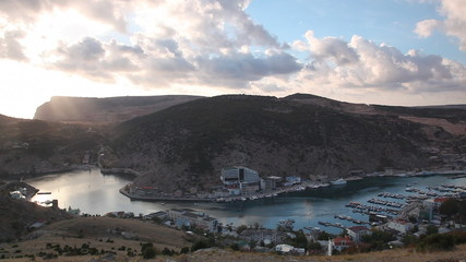 View of a bay in Balaklava on a sunset in the fall, Crimea