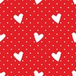 Tile vector pattern white hearts polka dots on red background