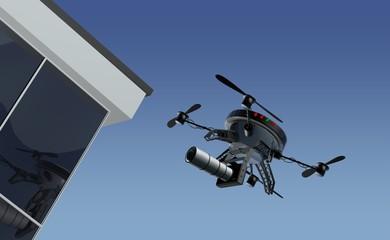 Drone maakt foto's van gebouwen
